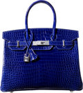 Luxury Accessories:Bags, Hermes Extraordinary Collection 30cm Diamond, Shiny Blue Electric Porosus Crocodile Birkin Bag with 18K White Gold Hardware...