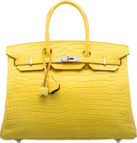 Hermes Special Order Horseshoe 35cm Matte Mimosa Crocodile Birkin Bag with Palladium Hardware X, 2016