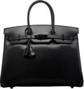 Luxury Accessories:Bags, Hermes Limited Edition 35cm So Black Calf Box Leather Birkin Bag with PVD Hardware. O Square, 2011. Condition: 2. ...