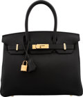 "Luxury Accessories:Bags, Hermes 30cm Black Togo Leather Birkin Bag with Gold Hardware. X, 2016. Condition: 1. 12"" Width x 8"" Height x 6"" De..."