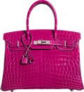 "Art Glass:Daum, Hermes 30cm Rose Sheherazade Crocodile Birkin Bag with Palladium Hardware. Q Square, 2013. Condition: 2. 11.5"" Wid..."