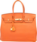 """Luxury Accessories:Bags, Hermes 35cm Orange H Clemence Leather Birkin Bag with Gold Hardware. M Square, 2009. Condition: 4. 14"""" Width x 10""""..."""