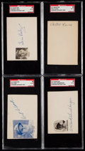Autographs:Index Cards, Baseball Greats Signed Cut Signature Lot of 4 - Daly, Eaves, Clark& Hershberger....