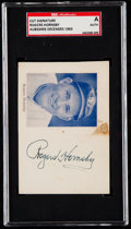 Autographs:Index Cards, Rogers Hornsby Signed Cut Signature SGC Authentic. ...