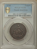 1781 TOKEN North American Token VF35 PCGS Secure. PCGS Population: (30/64 and 0/1+). NGC Census: (3/12 and 0/0+). ...(PC...