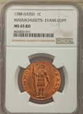 (Circa 194 1C Massachusetts Cent, Evans Copper Restrike, MS65 Red NGC. NGC Census: (15/5). PCGS Population: (0/0). ...(P...