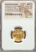 Ancients:Byzantine, Ancients: Heraclius (AD 610-641), with Heraclius Constantine andHeraclonas. AV solidus (20mm, 4.37 gm, 7h). NGC MS 4/5 - 3/5,crimped, ...