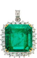 Estate Jewelry:Pendants and Lockets, Colombian Emerald, Diamond, Platinum, Gold Pendant . ...