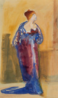Works on Paper, Carl Sprinchorn (American, 1887-1971). Dressed for the Opera, 1917. Watercolor on paper. 10-1/2 x 6-1/2 inches (26.7 x 1...