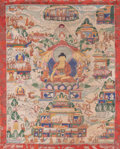 Asian:Chinese, A Sino-Tibetan Thangka Depicting Various Buddhist Deities, 20thcentury. 28 x 19-1/4 inches (71.1 x 48.9 cm) (work). ...