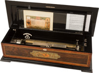 A Swiss Sublime Harmony Zither Cylinder Music Box, circa 1885 Marks: Sublime H