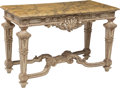 Furniture , A Louis XVI-Style Painted Center Table with Faux Marble Top, 20th century . 33-1/2 x 52 x 24-1/2 inches (85.1 x 132.1 x 62.2...