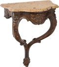 Furniture : Continental, An Italian Louis XV-Style Carved Console Table with Marble Top, 19th century . 25-3/4 x 20 inches (65.4 x 50.8 cm). ... (Total: 2 Items)