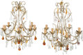 Decorative Arts, Continental:Lamps & Lighting, A Pair of Italian Eight-Light Cut Glass and Rock CrystalChandeliers, 20th century. 28-1/2 x 25 x 25 inches (72.4 x 63.5 x6... (Total: 2 Items)