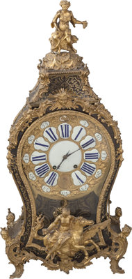 A Large Louis XV-Style Gilt Bronze and Boulle Lacquered Figural Clock, 19th century 38-1/2 x 18-1/2 x 10 inches (9
