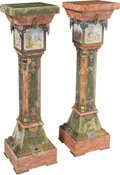 Decorative Arts, French:Other , A Pair of Marble and Onyx Columnar Pedestals with Inset PaintedPorcelain Plaques and Champlevé Enamel and Gilt Bronze Mounts...(Total: 2 Items)