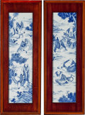 Furniture , A Pair of Wood Framed Chinoiserie Porcelain Tiles. 40-3/8 x 14-3/8 x 1-3/8 inches (102.6 x 36.5 x 3.5 cm). ... (Total: 2 Items)
