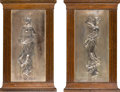 Decorative Arts, French:Other , A Pair of Framed Neoclassical-Style Silvered Bronze Plaques,possibly France, circa 1900. 20-7/8 x 12-3/4 x 3/4 inches (53.0...(Total: 2 Items)