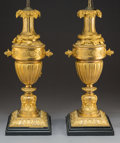 Decorative Arts, French:Other , A Pair of Louis XVI-Style Gilt Bronze Lamps, France, late 19thcentury . 31-1/4 x 8-3/4 x 6-7/8 inches (79.4 x 22.2 x 17.5 c...(Total: 2 Items)