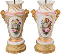 Ceramics & Porcelain, Continental:Antique  (Pre 1900), A Pair of Large Paris Porcelain Urns Mounted as Lamps, 19th century with later elements. 18-5/8 inches (47.3 cm) (urn). 37-1... (Total: 2 Items)