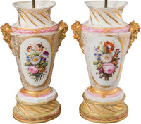 A Pair of Large Paris Porcelain Urns Mounted as Lamps, 19th century with later elements 18-5/8 inches (47.3 cm) (urn) 37...