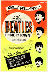 "The Beatles Come to Town (United Artists, 1963). Silk Screen Day-Glo One Sheet (28"" X 42"")"