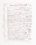 Works on Paper, William Powhida (b. 1976). How to Destroy LA, 2012. Inkjet print on paper. 18 x 14 inches (45.7 x 35.6 cm) (sheet). Ed. ...