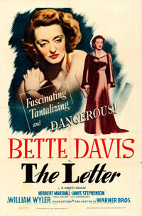 """The Letter (Warner Brothers, 1940). One Sheet (27"""" X 41"""")"""