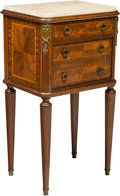 Furniture , A Louis XVI-Style Side Table with Gilt Bronze Mounts and Marble Top, 20th century . 33-1/2 x 18-1/4 x 14 inches (85.1 x 46.4...