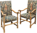 Furniture : Continental, A Pair of Carolean-Style Upholstered Walnut Armchairs, 19th century. 49 x 27-1/2 x 29-1/2 inches (124.5 x 69.9 x 74.9 cm) (s... (Total: 2 Items)