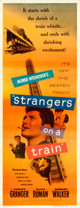 "Movie Posters:Hitchcock, Strangers on a Train (Warner Brothers, 1951). Insert (14"" X 36"").. ..."