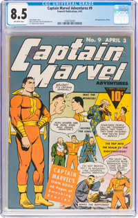 Captain Marvel Adventures #9 (Fawcett Publications, 1942) CGC VF+ 8.5 Off-white pages