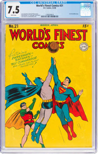 World's Finest Comics #21 (DC, 1946) CGC VF- 7.5 White pages