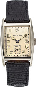 "Timepieces:Wristwatch, Hamilton 14k White Gold ""Floyd Bennett"" ""Captain Rice"" VintageWatch, circa 1931. ..."
