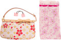 Luxury Accessories:Accessories, Louis Vuitton Set of Three: Red Cherry Blossom Monogram Pochette, Scarf, and Pink Acrylic Hair Cubes. Condition: 2. 8.... (Total: 3 Items)