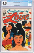 Golden Age (1938-1955):Romance, Confessions of Love #13 (Star Publications, 1952) CGC VG+ 4.5Off-white to white pages....