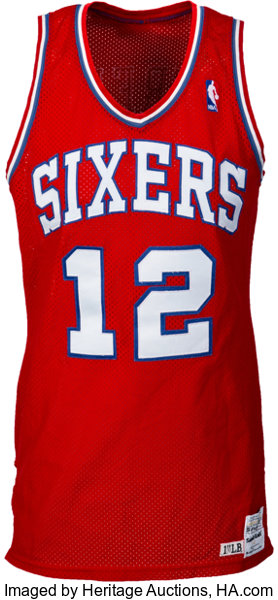 hot sales 79f51 29599 1986-87 World B. Free Game Worn Philadelphia 76ers Uniform ...