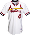 Baseball Collectibles:Uniforms, 2015 Yadier Molina Game Worn & Signed St. Louis Cardinals TurnBack the Clock Jersey. ...
