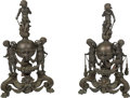 Decorative Arts, Continental:Other , A Pair of Continental Patinated Bronze Figural Andirons, late19th-early 20th century. 40 x 25 x 9-1/2 inches (101.6 x 63.5 ...(Total: 2 Items)