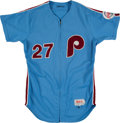 Baseball Collectibles:Uniforms, 1986 Kent Tekulve Game Worn Philadelphia Phillies Jersey....