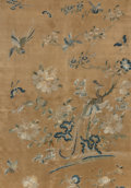 Asian:Chinese, A Chinese Embroidered Silk Panel with Avian Motifs, Qing Dynasty,late 19th century. 45 inches high x 32 inches wide (114.3 ...