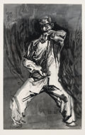 Fine Art - Work on Paper, Jinsong Wang (Chinese, b. 1963). Figure #75, 2005. Ink onpaper. 57-1/2 x 30-3/4 inches (146.1 x 78.1 cm) (image). Signe...
