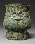 Asian:Chinese, A Chinese Bronze Zun Vessel. 7-1/4 x 6 x 4-3/4 inches (18.4 x 15.2x 12.1 cm). ... (Total: 2 Items)