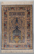 Asian:Chinese, A Chinese Silk and Bullion Thread Prayer Rug Made for the ArabMarket. 5 feet 5 inches long x 3 feet 3-1/2 inches wide (165....