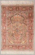 Asian:Chinese, A Chinese Silk and Bullion Thread Prayer Rug Made for the ArabMarket. 5 feet 4 inches long x 3 feet 4-1/2 inches wide (162....