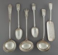 Silver & Vertu:Flatware, Six English Silver Serving Pieces, circa 1839-1854. Marks: (various English hallmarks). 15-1/4 inches (38.7 cm) (longest, la... (Total: 6 Items)