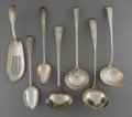 Silver & Vertu:Flatware, Seven English Silver Serving Pieces, circa 1768-1814. Marks: (various English hallmarks). 14-1/4 inches (36.2 cm) (longest, ... (Total: 7 Items)
