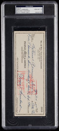 Football Collectibles:Others, 1964 Vince Lombardi Signed Check, PSA Gem Mint 10....