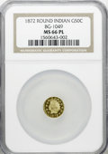 California Fractional Gold, 1872 50C Indian Round 50 Cents, BG-1049, R.4, MS66 ProoflikeNGC....