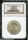 Commemorative Silver: , 1936-D 50C Columbia MS66 NGC. Untoned and virtually as struck, withintense satiny luster and nearly pristine surfaces on b...